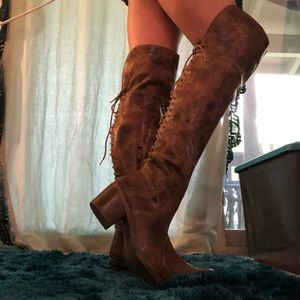 Cognac Distressed Leather Heeled Thing-high Boots